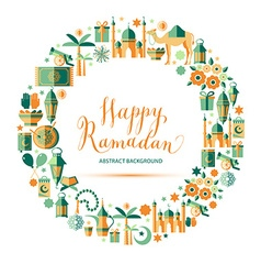 Happy Ramadan icons set vector image vector image