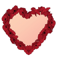 heart and poppies vector image vector image