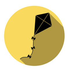 kite sign flat black icon with flat vector image