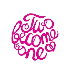 Lettering element in pink color for wedding design vector image