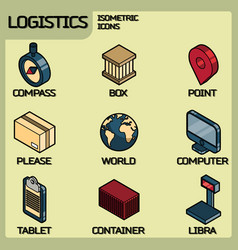 Logistics color outline isometric icons vector