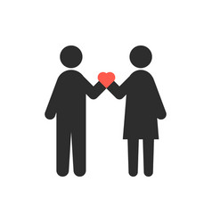 loving couple with heart in crossed hands vector image vector image