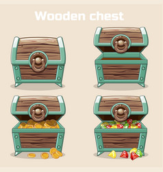 Opened and closed antique treasure chest vector