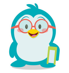 Penguin with book character vector