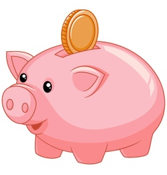 Piggy bank with coin vector