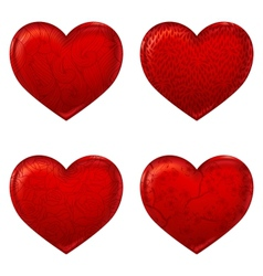 Red hearts 3d simple icon made with meshes vector