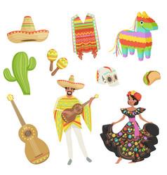 Set of cultural symbols mexico sombrero cactus vector