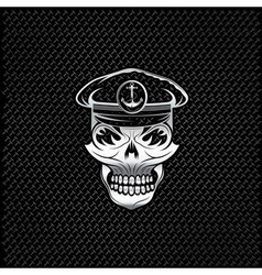 silver captain skull on metal background vector image vector image