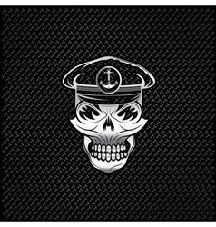 Silver captain skull on metal background vector