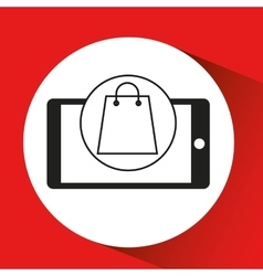 Smartphone e-commerce bag gift graphic vector