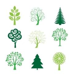 Stylized tree icon set vector