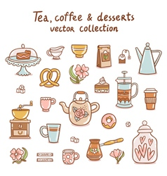 Tea coffee and desserts collection vector image vector image