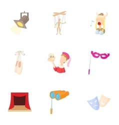 Theatrical production icons set cartoon style vector