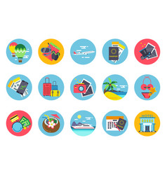 Travel icons set in colored circle shapes vector