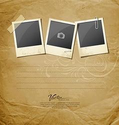 Vintage Instant photo on vintage paper vector image vector image