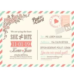Vintage postcard background for wedding invitation vector