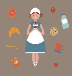 Young woman and sweets vector