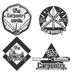 set of vintage carpentry emblems vector image