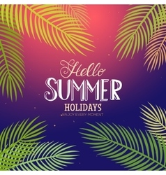 Summer lettering with palm vector