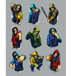 set of hoody gangsters vector image