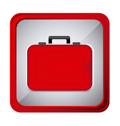 Colorful frame square button red firts aid kit and vector
