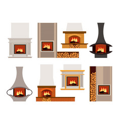 Set of classical and modern fireplaces vector