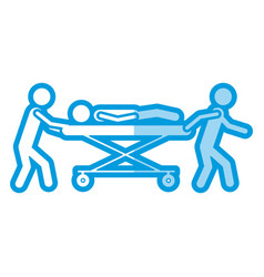 blue shading silhouette pictogram paramedics with vector image