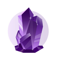 Decorative violet crystal and mineral vector
