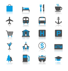 Map and location flat with reflection icons vector