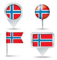 Map pins with flag of norway vector