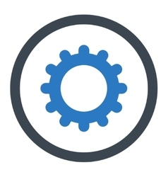 Gear flat smooth blue colors rounded icon vector