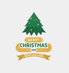 Merry christmas and happy new year type font vector