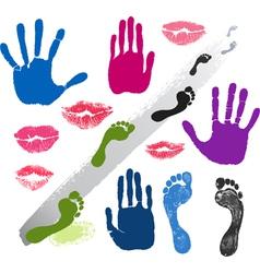 Set hands lips foots footsteps prints vector image