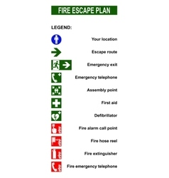 Set of symbols for fire escape evacuation plans vector