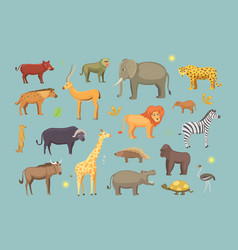 african animals cartoon set safari vector image vector image