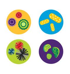 Bacteria virus microscopic isolated microbes icon vector