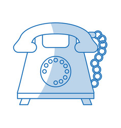 blue shading silhouette cartoon retro telephone vector image