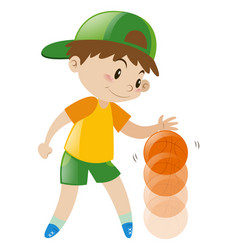 Boy bouncing basketball with one hand vector