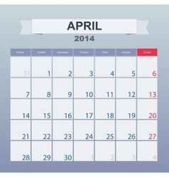 Calendar to schedule monthly april 2014 vector