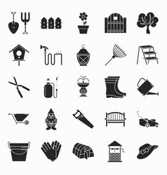 Collection of gardening icons vector