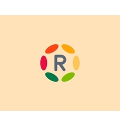 Color letter r logo icon design hub frame vector