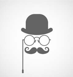 Face of gentleman capitalist or hipster vector
