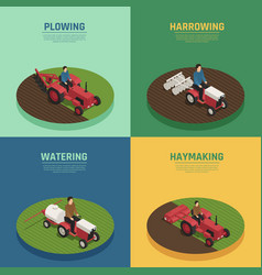 farm machinery 4 isometric icons vector image vector image