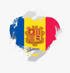 Flag of andorra isolated on grunge heart vector
