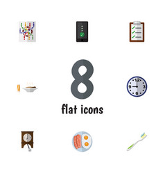 Flat icon life set of questionnaire clock lunch vector