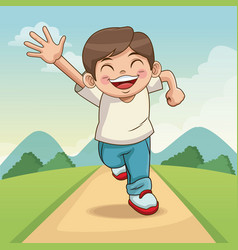 Happy children day cartoon boy with landscape vector