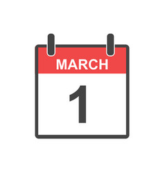 March 1 calendar icon in flat style vector