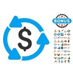 Money circulation icon with 2017 year bonus vector