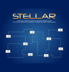 On blue background stellar blockchain vector