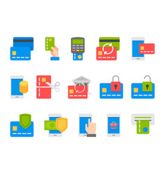 Pay on line and mobile banking icons flat design vector